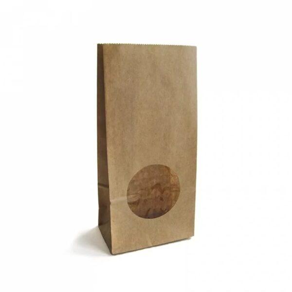 Крафт-пакет  с круглым окном, 10 х 6 х 20 см