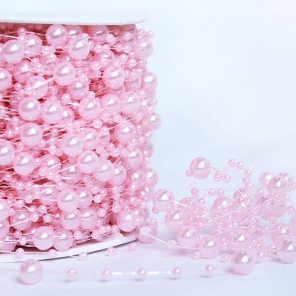 Бусы на леске Шарики розовые