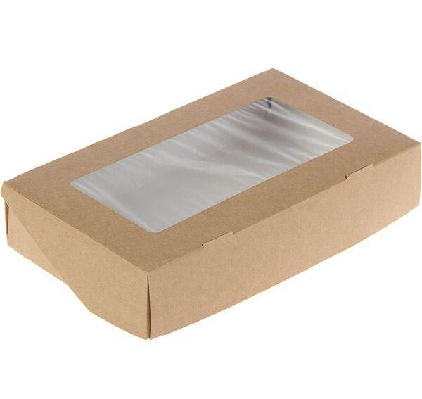 Коробочка крафт с окошком 20х12х4,5 см