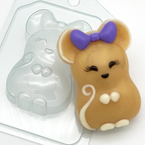 Мышь с бантом, форма пластиковая