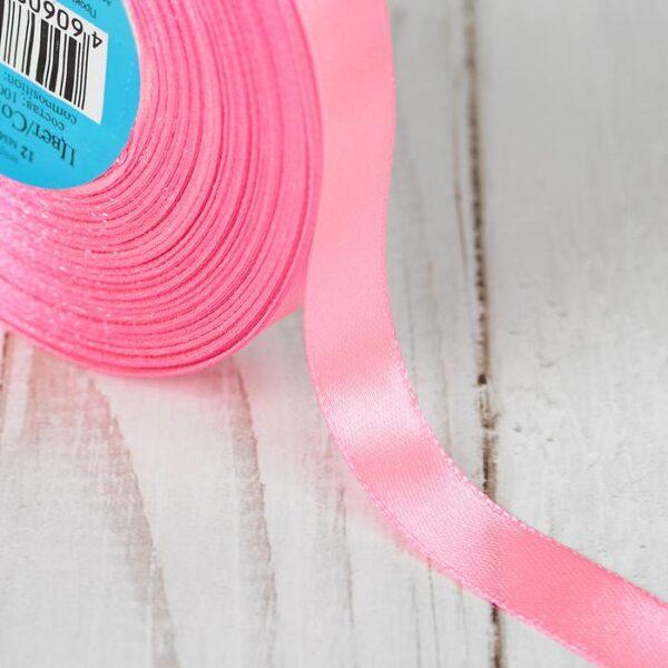Лента атласная 1,2 см розовая 005