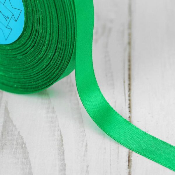 Лента атласная 1,2 см зеленая 019