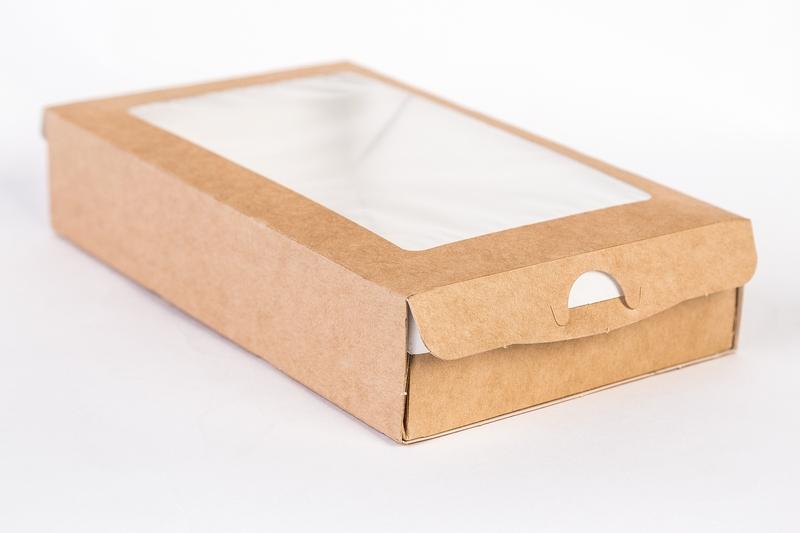 Коробочка крафт с окошком 20х12х4 см пенал
