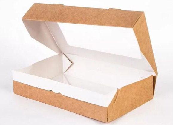 Коробочка крафт с окошком 20х16х5,5 см