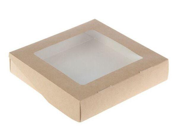 Коробочка крафт с окошком 20х20х4 см