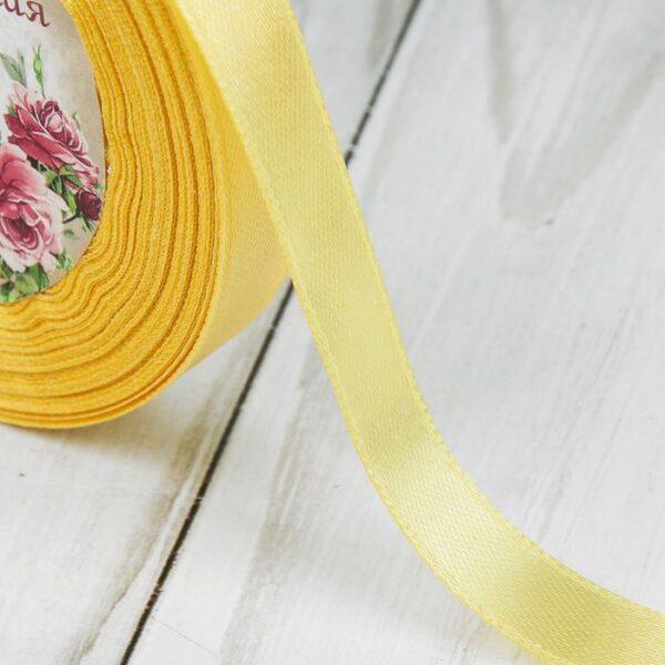 Лента атласная 1,2 см бледно-желтая
