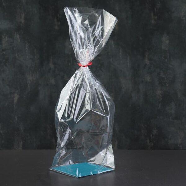 Пакет подарочный на жестком дне  14х14х60 см прозрачный