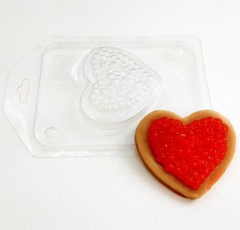 Сердце с икрой, форма пластиковая