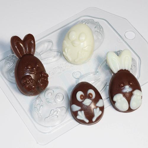 Кролик и цыпленок мультяшные (4 мини), форма пластиковая