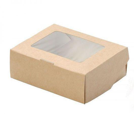 Коробочка крафт с окошком 10х8х3 см