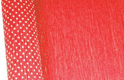 Бумага гофрированная с белыми точками красная