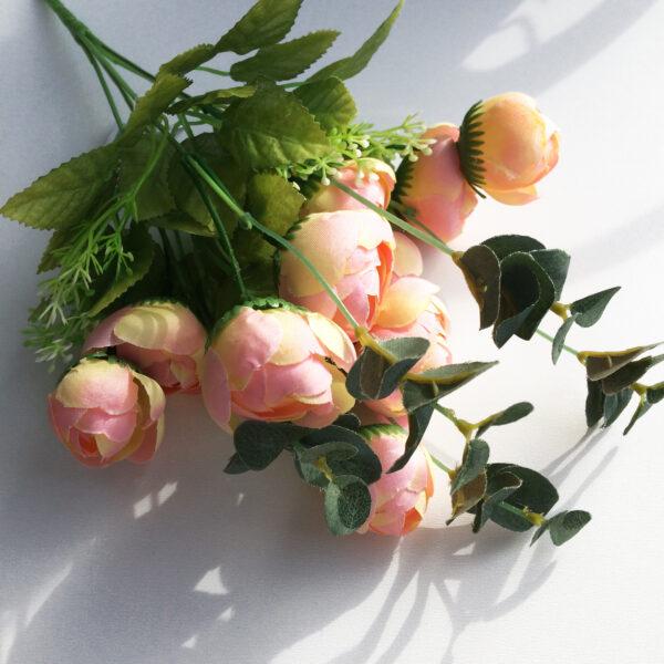 """Букет """"Розы с эвкалиптом"""" желто-розовые"""