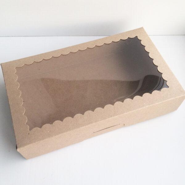 Коробочка крафт с фигурным окном  25х15х5 см