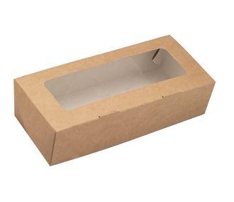 Коробочка крафт с окошком 17х7х4 см