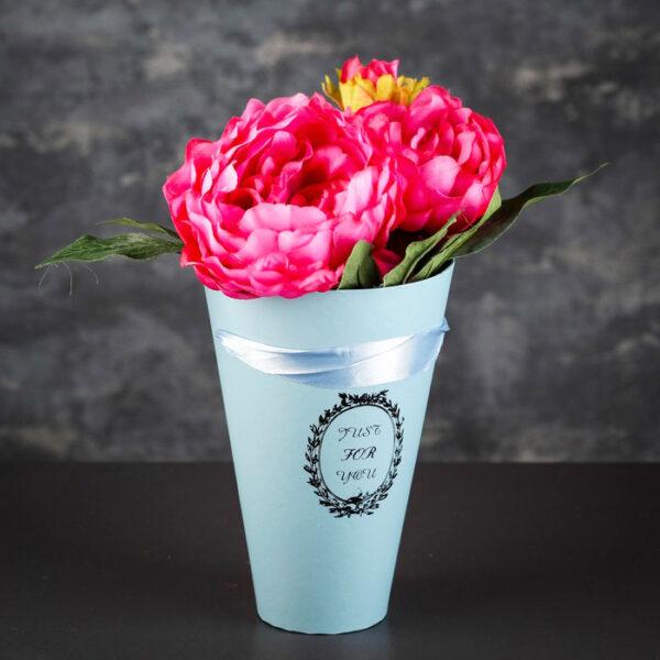 Конус (коробка) для цветов 13х13х20см голубой