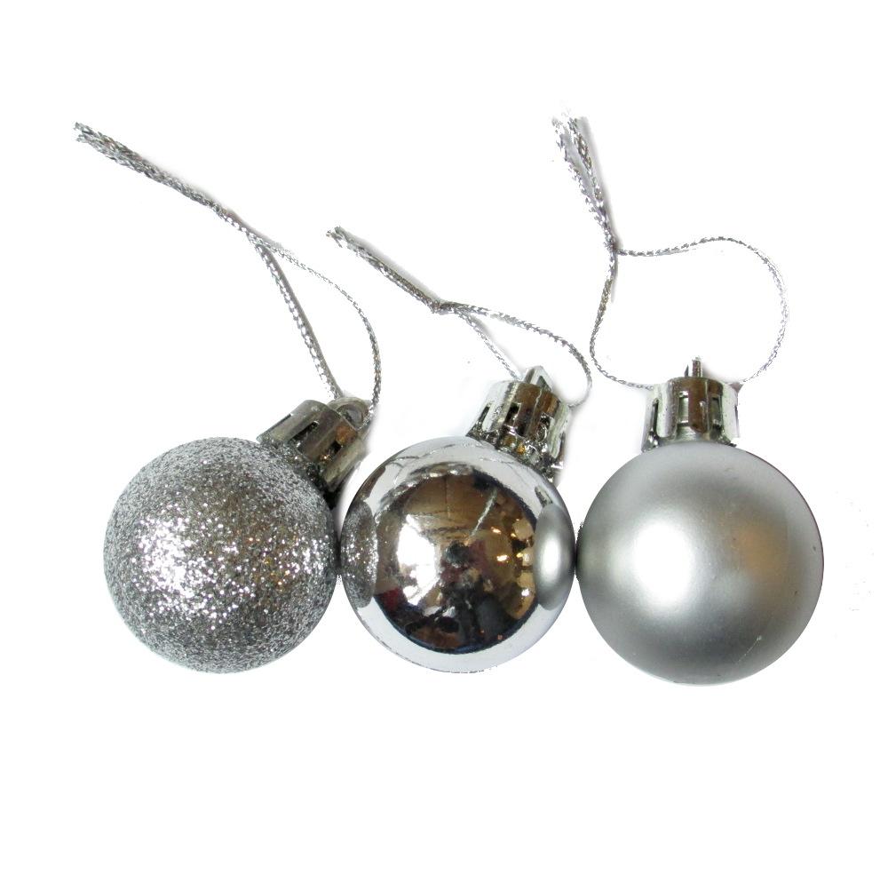 Набор елочных шаров 12 шт цвет серебро