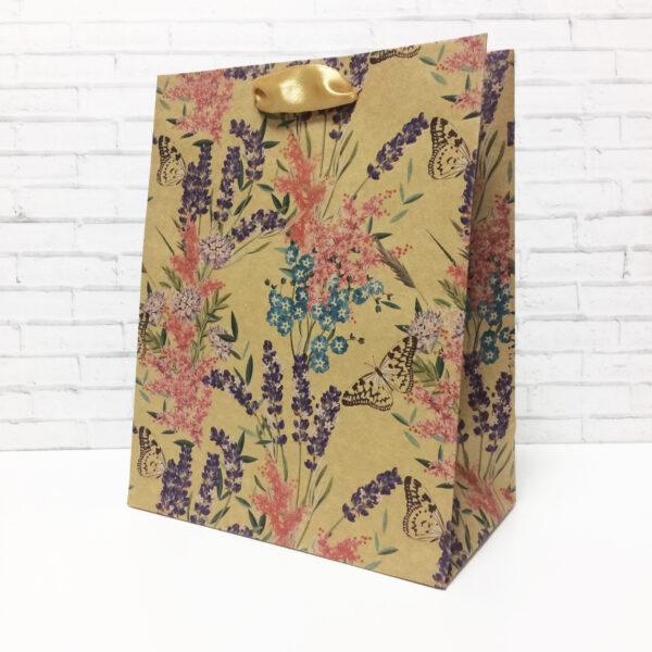 """Крафт-пакет вертикальный """"Полевые цветы"""" 18?23?10 см"""
