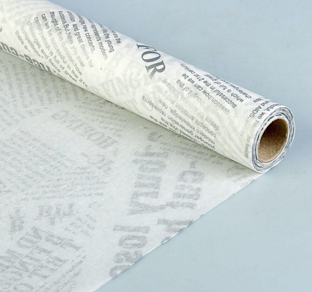 """Калька для цветов """"Газета"""" серебро на белом"""