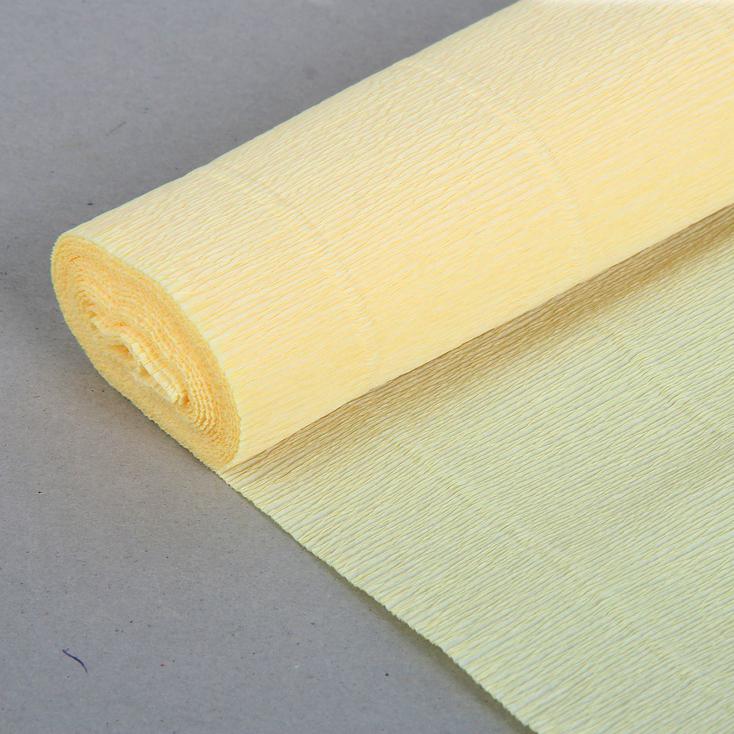 Бумага гофрированная простая лимонно-кремовая 577