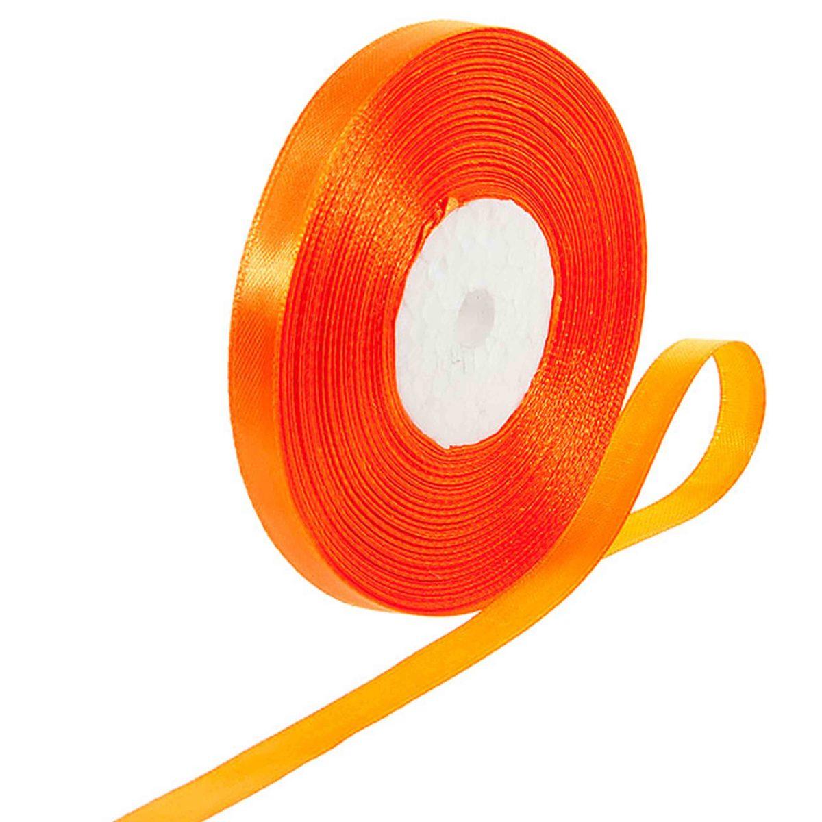 Лента атласная 0,7 см оранжевая