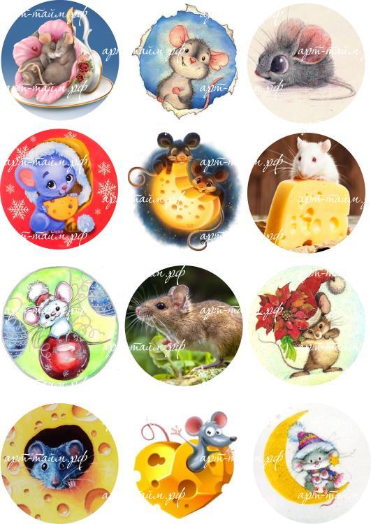Мышки на круг №3, водорастворимые картинки