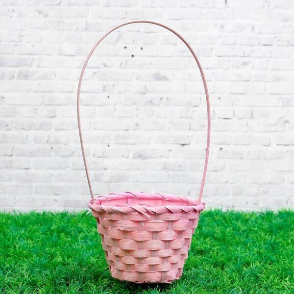Корзина плетёная D13xH9,5/28см светло-розовая