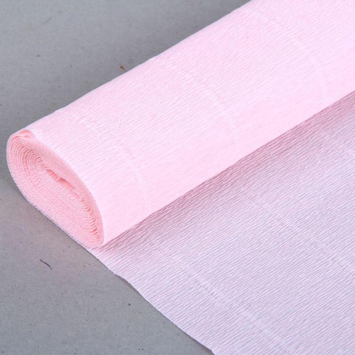 Бумага гофрированная простая бело-розовая 569