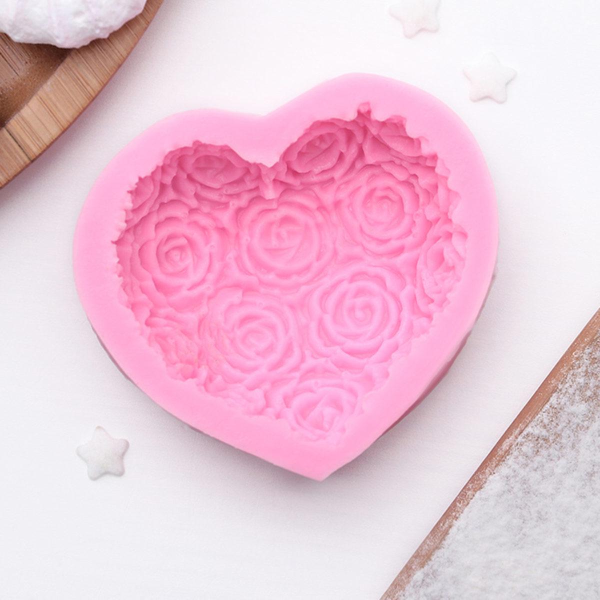 Сердце с розами, силиконовая форма