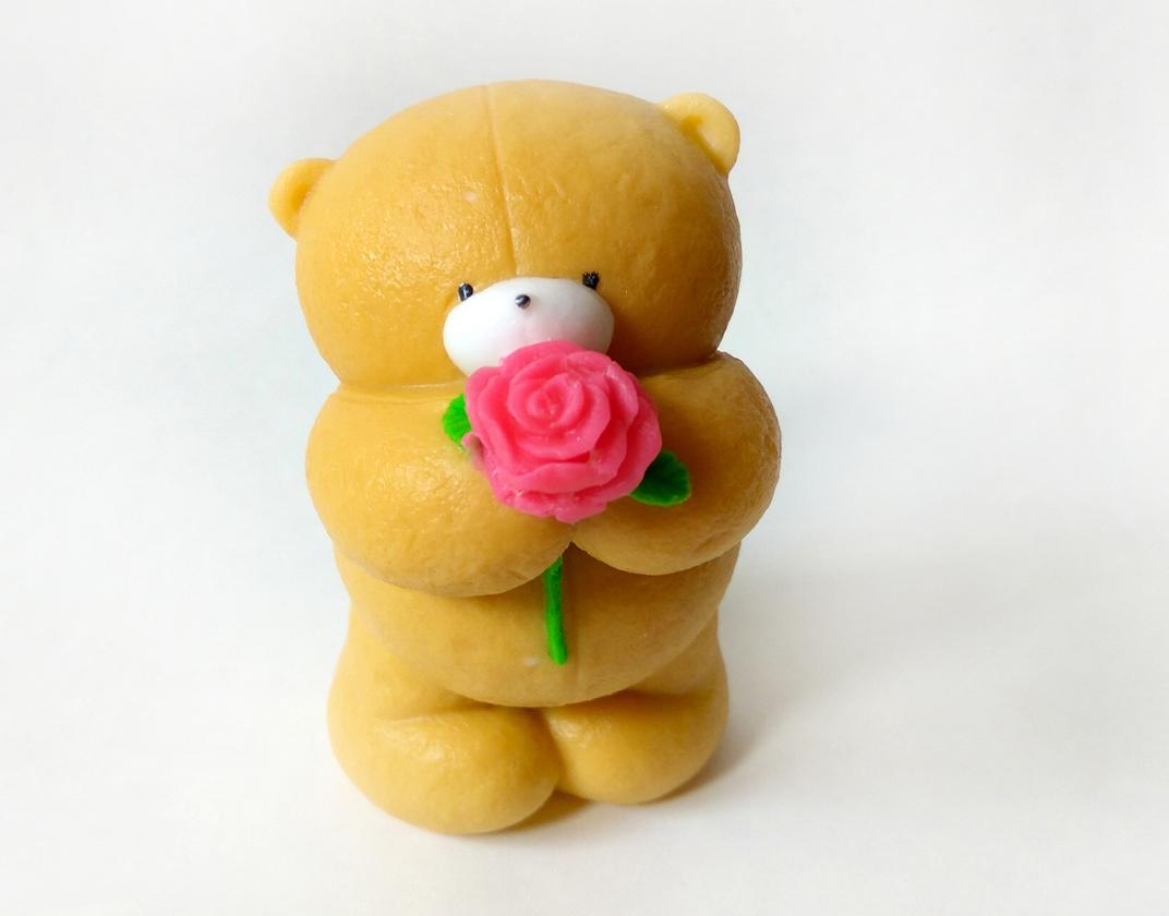 Мишка с розой 3D