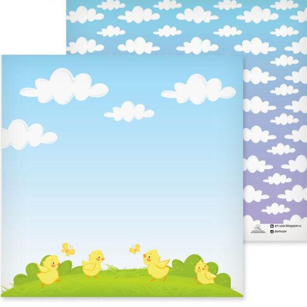 """Бумага для скрапбукинга """"Цыплята"""" 30,5х30,5 см"""