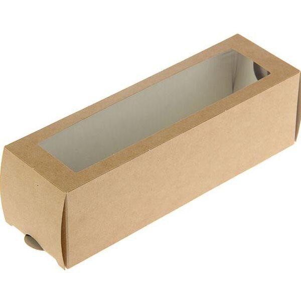 Коробочка крафт с окошком 18х5,5х5,5 см